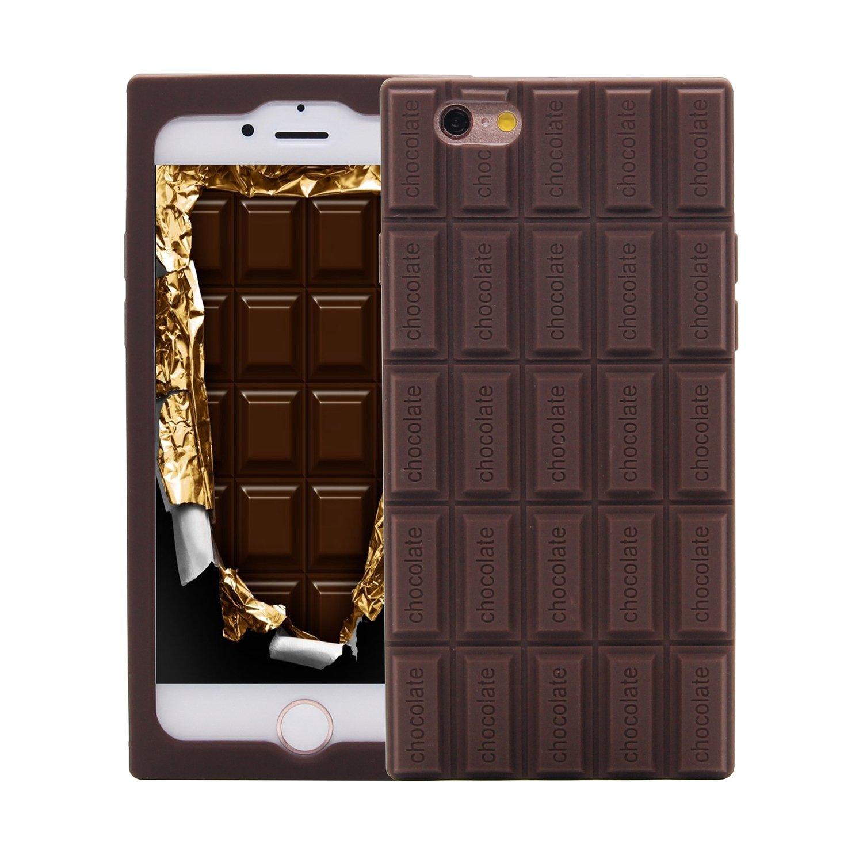 Amazon.com: iPhone SE Case, MC Fashion Cute 3D Brown Chocolate Bar ...