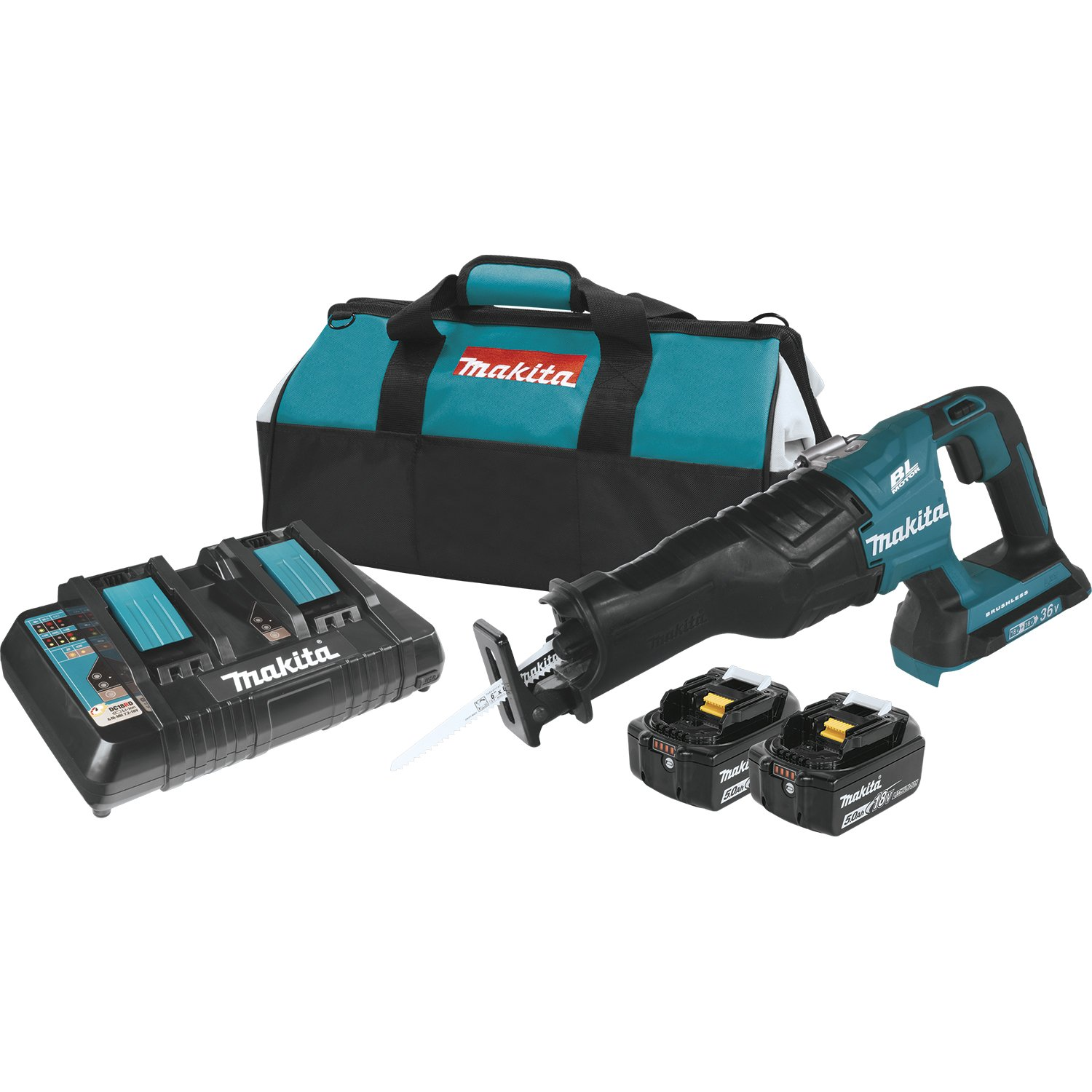 Makita XRJ06PT 18V x2 LXT Lithium-Ion (36V) Brushless Cordless Recipro Saw Kit (5.0Ah)