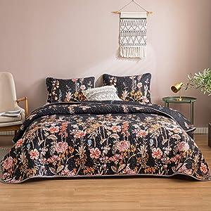 Black Flowers Quilt Set Botanical Floral Bedspread Pink Red Flowers Printed Design Black Bedspread Coverlet King 1 Quilt 2 Pillow Shams (King, Black)