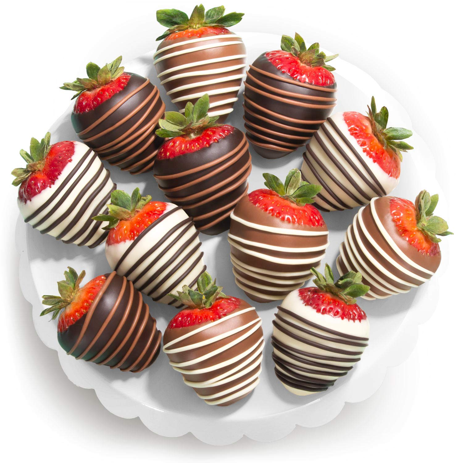 Amazon Com Chocolate Covered Strawberries 12 Dark Milk White Delight Grocery Gourmet Food