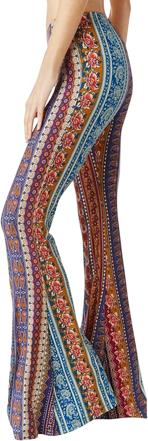 Hippie Pants, Jeans, Bell Bottoms, Palazzo, Yoga YUHX Women Boho Flare Pants Floral Hippie Flare Trousers Vintage Elastic Waist Bell Trousers Long Pants £13.99 AT vintagedancer.com