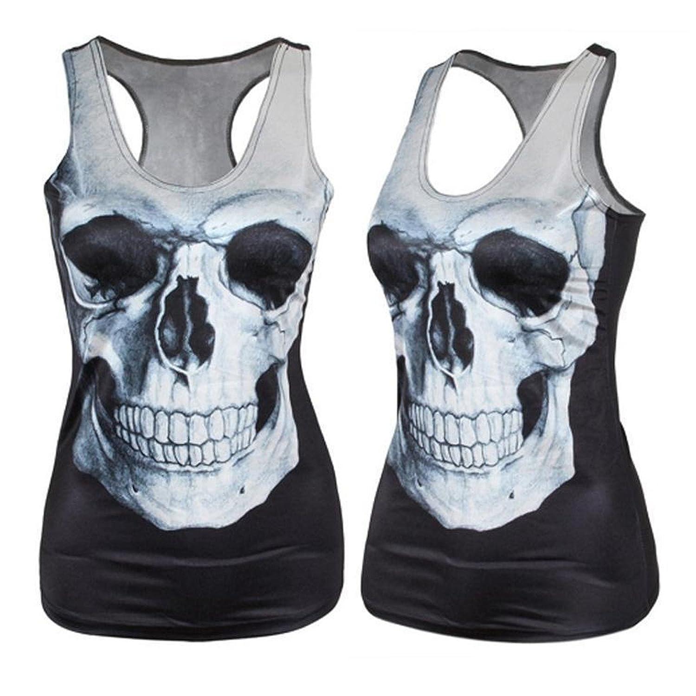 BIG Face Skull 3d Tank Top Vest Black Shirt Racerback One Size
