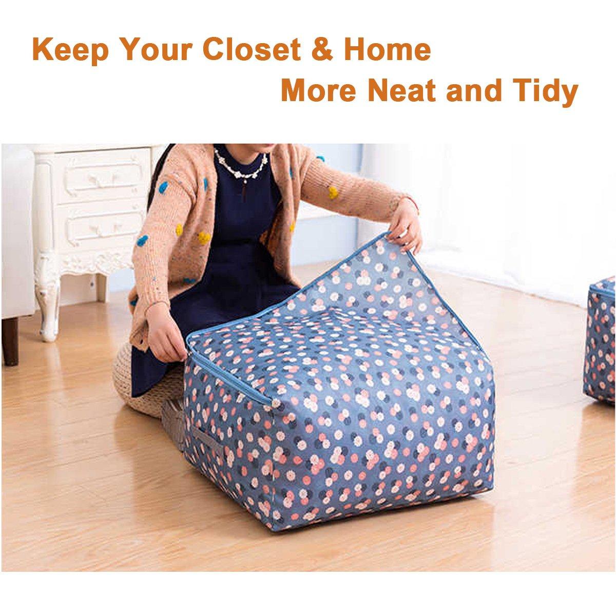 Amazon.com: Bolsa de almacenaje de edredón Bolsa de almacenamiento de tela Oxford Bolsa de almacenaje de cama debajo Caja de organizador plegable con ...