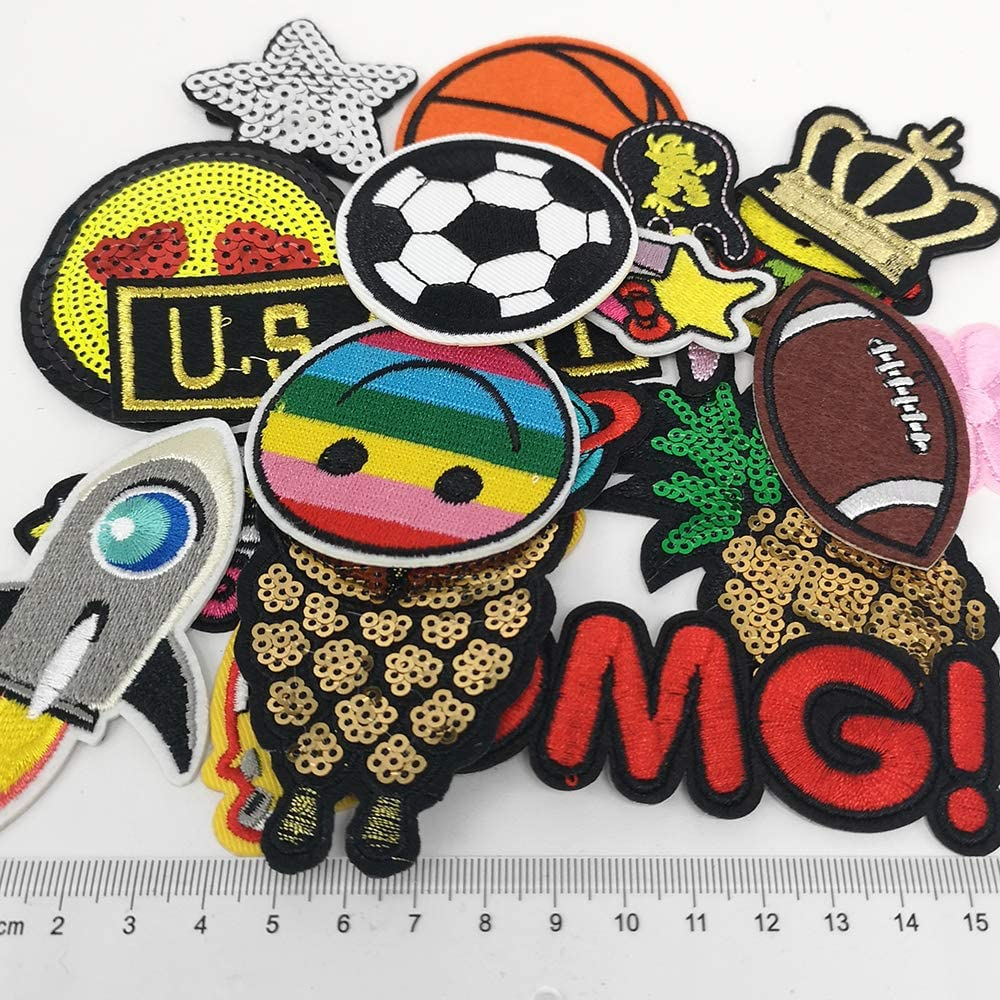 Cake Bread Fries Libiline Random 24PCS Mix Fries Bread Sandwish Cake Drink Sew-on Iron-on Patch Dress Embroidered Appliques Patches