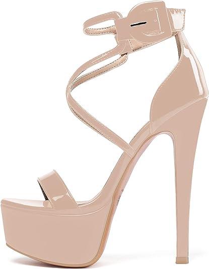Details about  /Women Sandals Open Toe High Heel Lace Up Sandals Shoes Slingbacks Plus Size 4-12