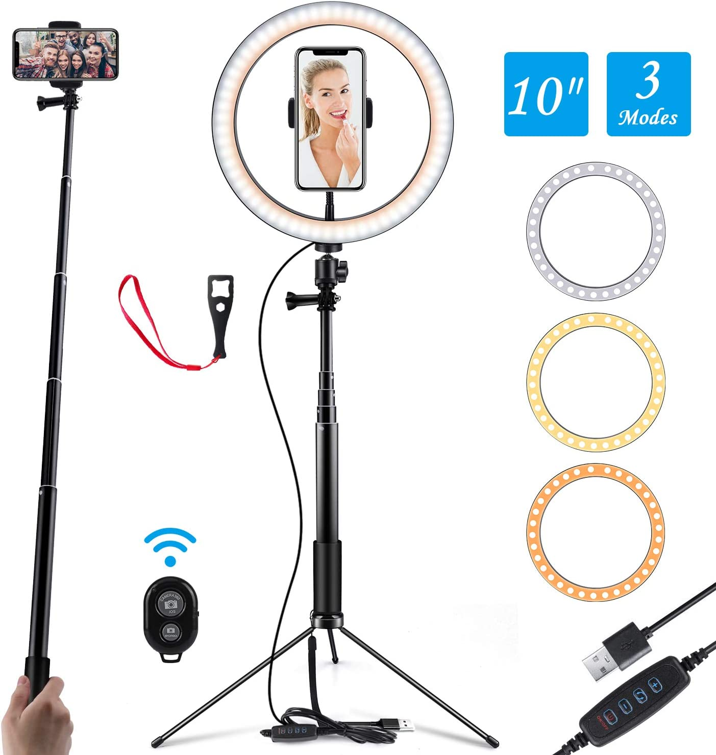 """Ring Light 10"""" Selfie Light Ring with Adjustable Bracket (14.56'' to 65'') Remote Control 3 Modes & 10 Brightness 120 Bulbs Dimmable Desktop Ringlight for YouTube Video/Live Stream/Makeup/Photography"""