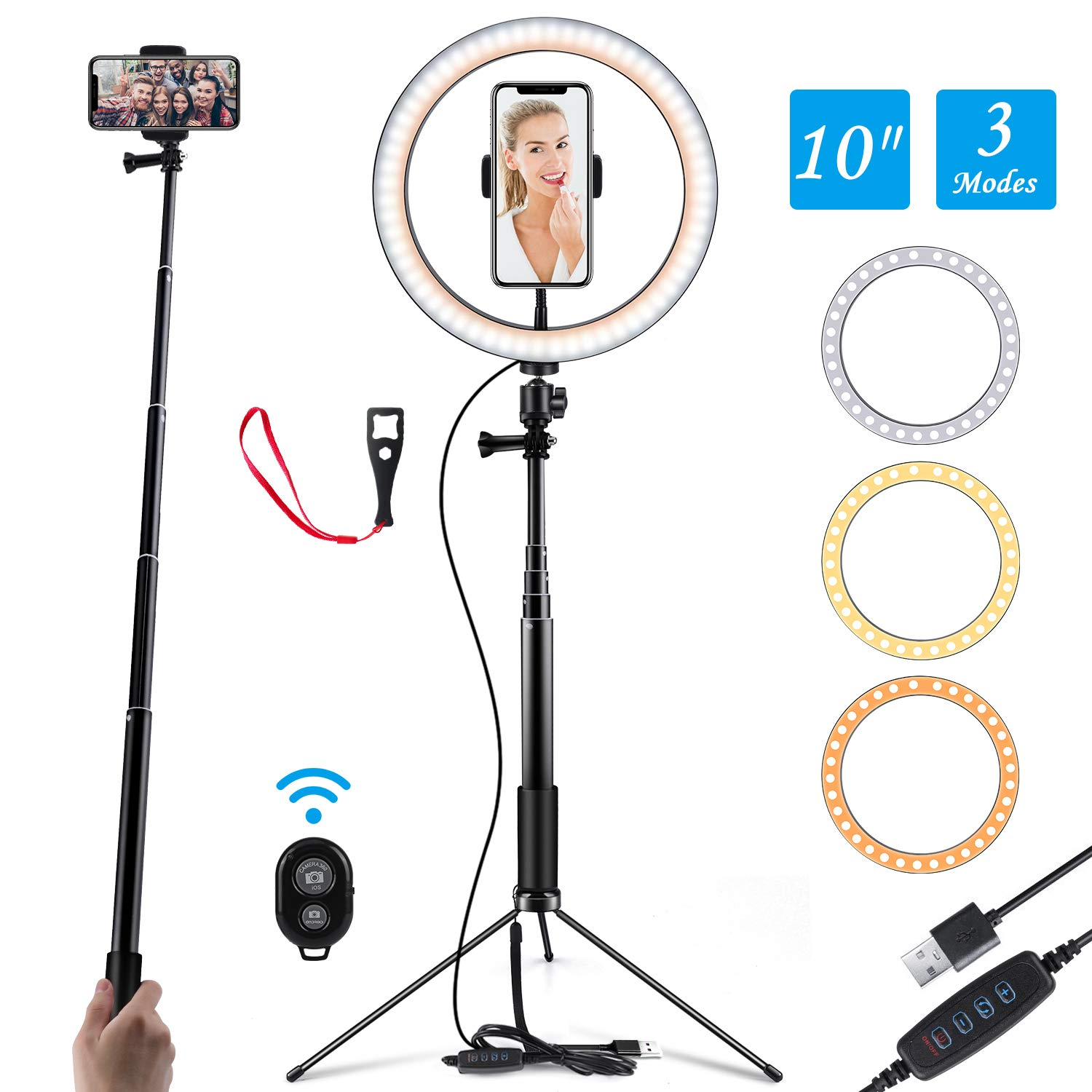 Ring Light 10'' Selfie Light Ring with Adjustable Bracket (14.56'' to 65'') Remote Control 120 Bulbs Ringlight for YouTube Video/Live Stream/Makeup/Photography (Floor Version) by KeShi