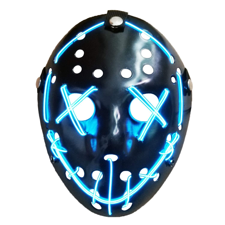 AUHOO Light up Purge Mask LED Jason Mask Halloween Scary Mask Rave Halloween Costumes