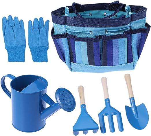 OUNONA - Juego de herramientas de jardinería, para niños, con guantes de jardín, bolsa de herramientas tipo tote (azul): Amazon.es: Juguetes y juegos
