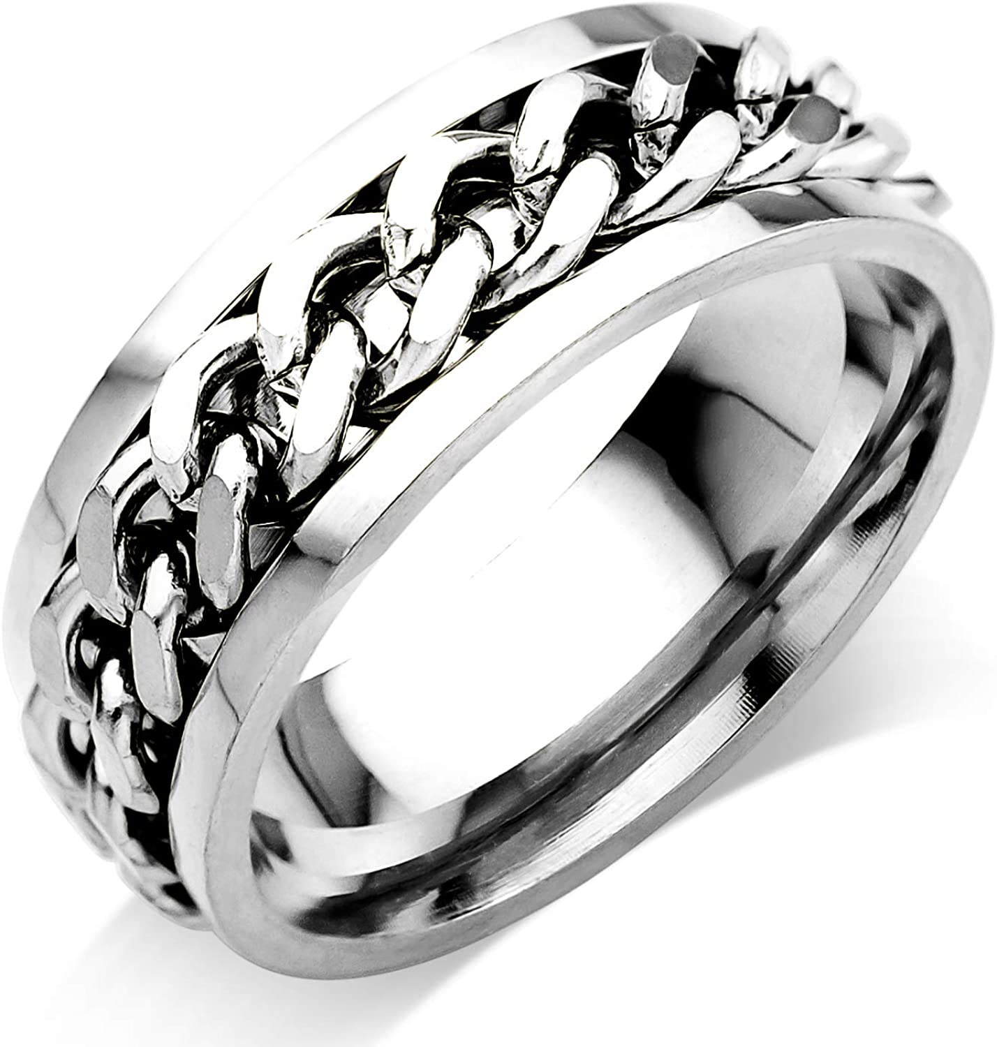 555Jewelry Stainless Steel Chain Link Unisex Edgy Fashion Wide Spinner Band Ring