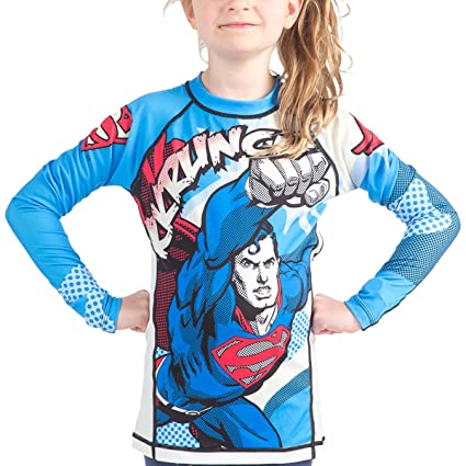 ad195a2b DC Comics Kids SUP005 Fusion Fight Gear Krunch Rash Guard, Blue, 2X-Large