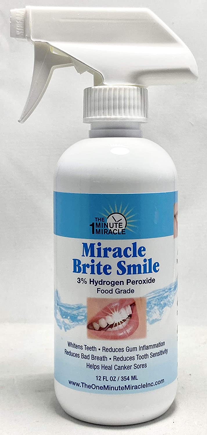 Miracle Brite Smile With 3% Food Grade Hydrogen Peroxide and Essential Oils