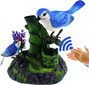 Tipmant Stimulation Electric Birds Toys Voice Controlled Electronic Animal Pets Pen Holders Office Home Decor Ornament Kids Birthday Gifts (Blue)