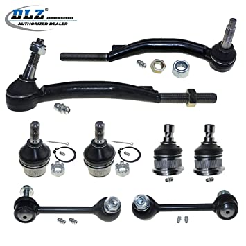 DLZ 8 Pcs Suspension Kit Lower Upper Front Ball Joint Outer Tie Rod End Rear Sway Bar Compatible With Chevrolet Trailblazer GMC Envoy Isuzu Ascender