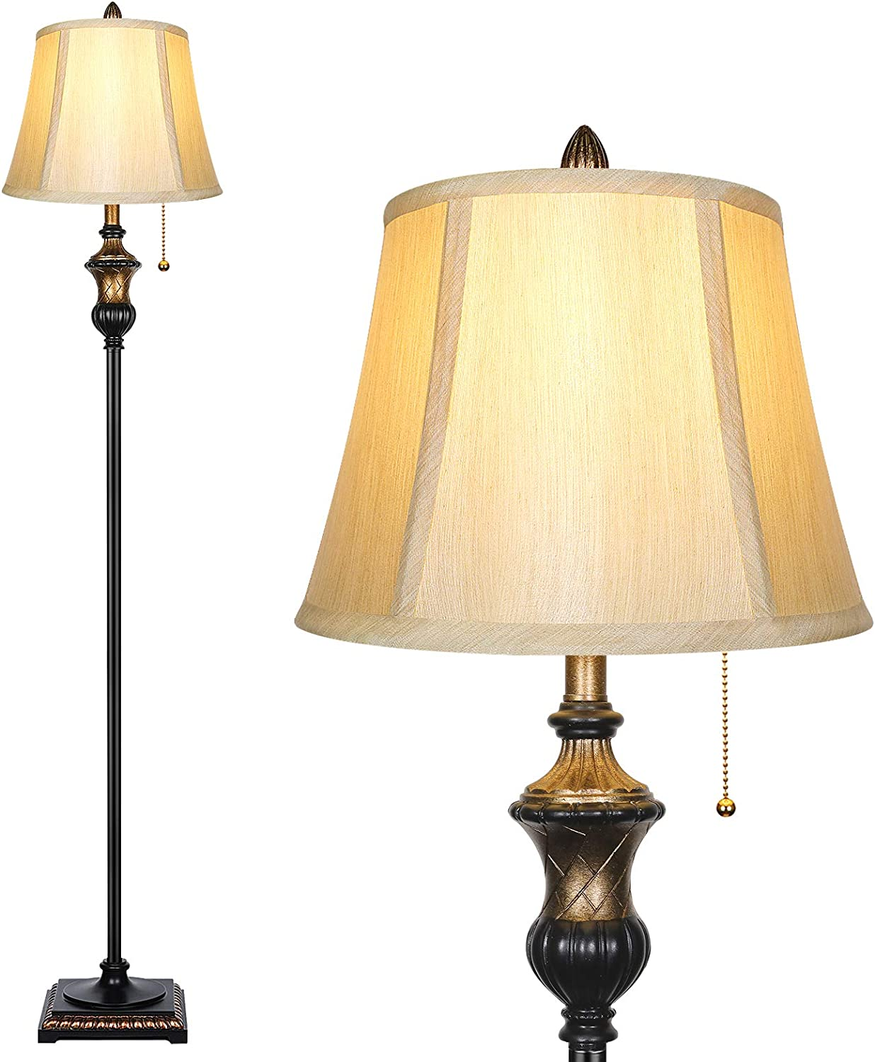 TOBUSA Traditional Floor Lamp, Classic Standing Lamp with Bronze Fabric Shade, Vintage Elegant Tall Pole Lamp for Living Room Bedroom Office Reading, Rustic Upright Floor Lights , Pull Chain Switch
