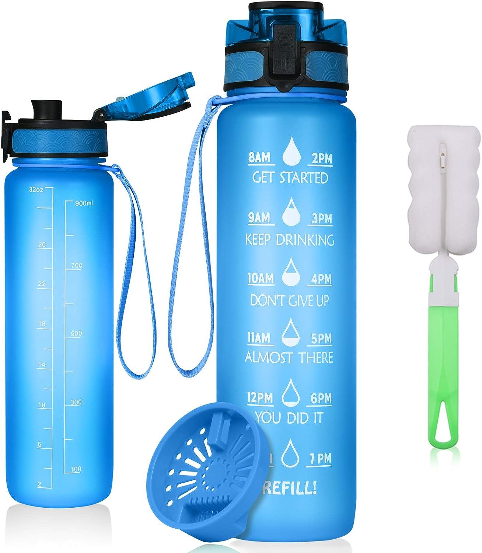 flintronic Botella de Agua Deportiva,1L con Marcador de Tiempo Motivacional, Sin BPA Water Bottle Frosted con 1 Cepillo, Frosted Ligero Bidon de Bebidas Plástico para Adultos Sport, Gimnasio,Trekking