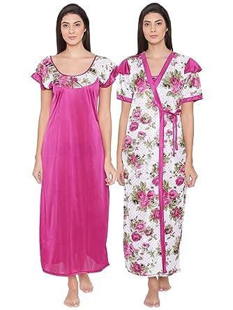 96ccf67a59 Clovia Women s 2 Pcs Printed Satin Nightwear In Wine - Robe   Nightie  (NSM273G04 Red Free Size