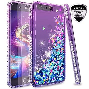 LeYi Funda Huawei P10 Silicona Purpurina Carcasa con [2-Unidades Cristal Vidrio Templado],Transparente Cristal Bumper Telefono Fundas Case Cover para ...