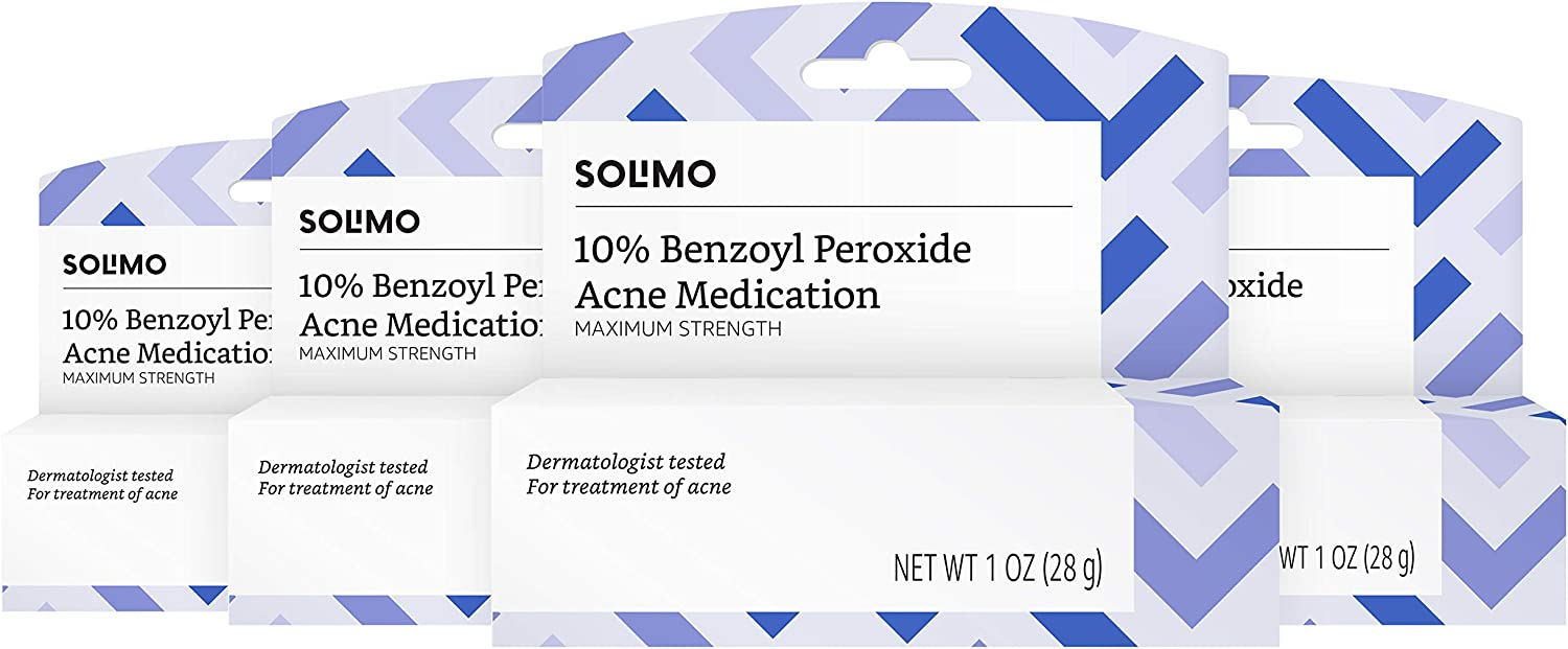 Amazon Brand - Solimo 10% Benzoyl Peroxide Acne Medication, Maximum Strength, Dermatologist Tested, 1 Fluid Ounce (Pack of 4)