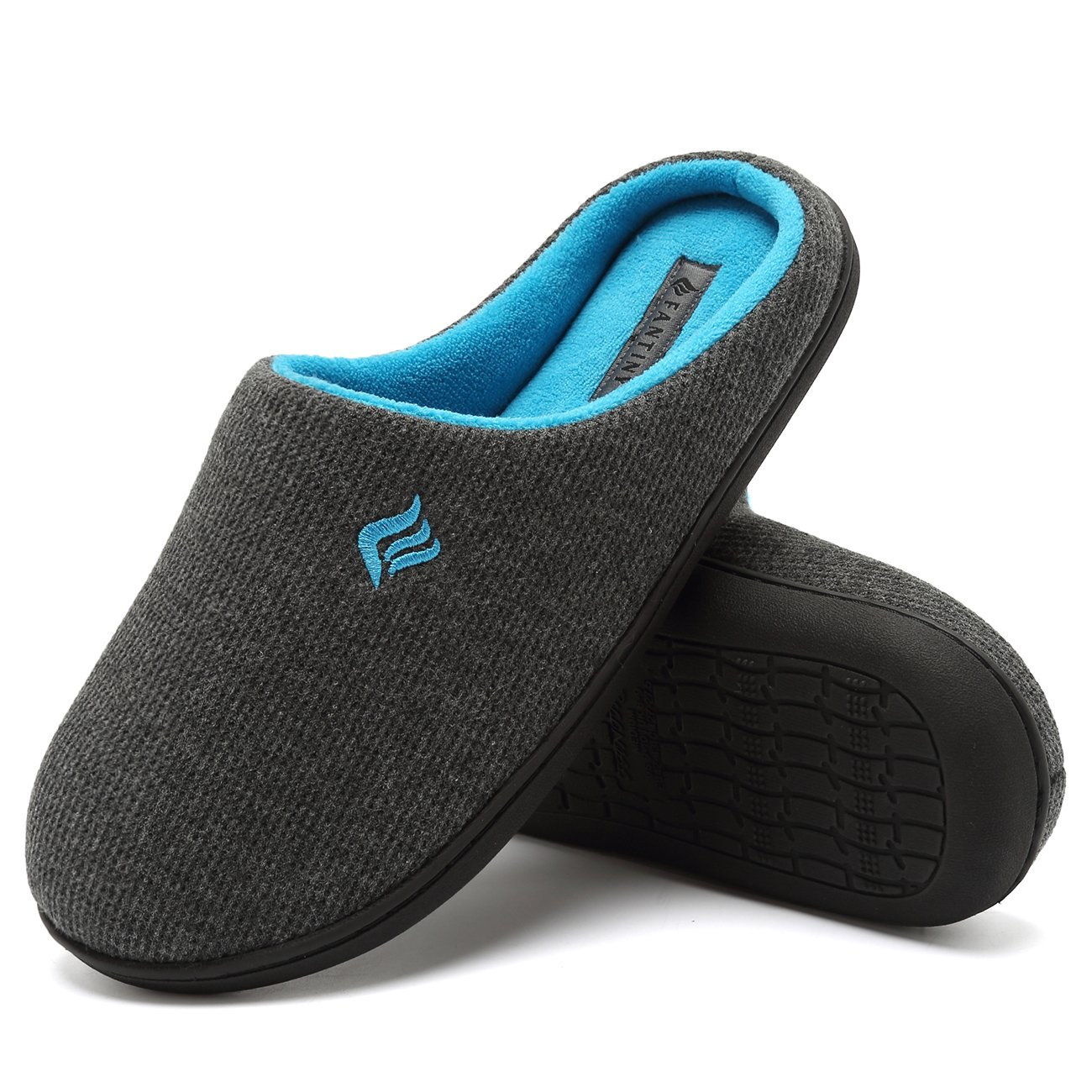 CIOR Fantiny Men's Memory Foam Slippers Two-Tone Slip-on Clog Scuff House Shoes Indoor & Outdoor-U118WMT020-darkgray-42.43