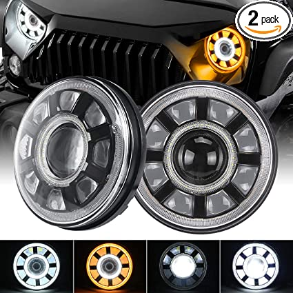"""2x For Jeep Wrangler 7/"""" Inch Round H13 H4 60W LED Projector Headlights BLACK"""