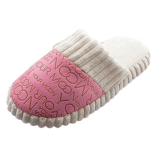 TOOGOO Zapatillas de Algodon con Relleno de Algodon Para Mujer (38-39, Rosa)