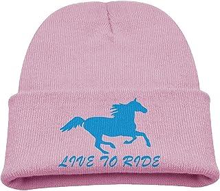 Live To Ride Horse Warm Winter Hat Knit Beanie Skull Cap Cuff Beanie Hat Winter Hats Children Larenoto