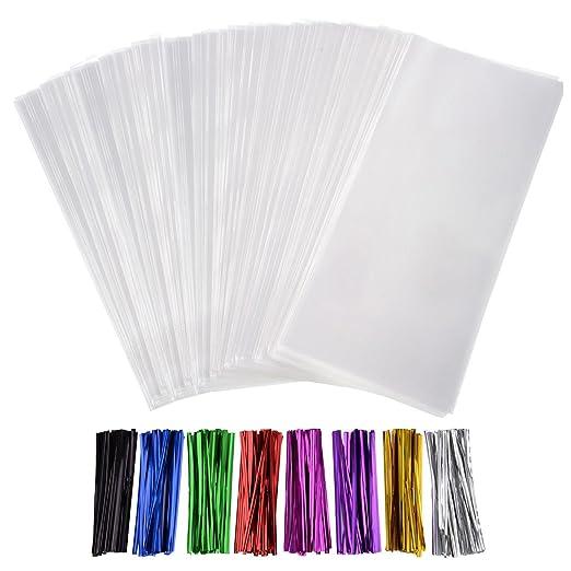 300 Piezas Bolsas Transparentes Bolsas Celofán 5 por 7 Pulgadas y 320 Piezas de Precintos en 8 Colores para Regalo de Galleta Caramelo