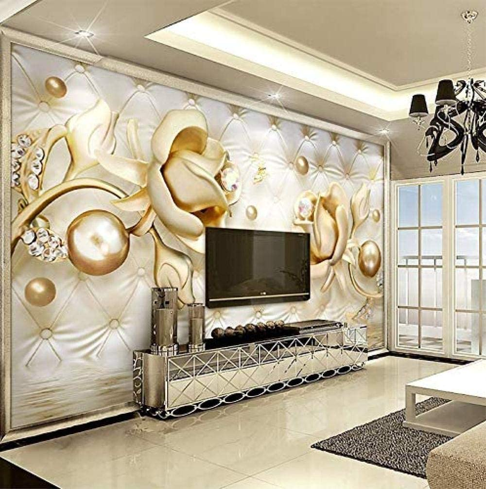 FSLUCKY Golden Rose Mural HD Print 3D Wallpaper Living