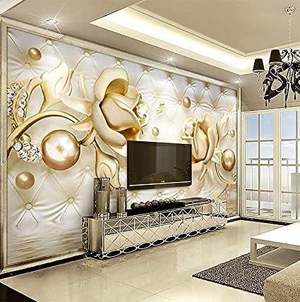 FSLUCKY Golden Rose Mural HD Print 3D Photo Wallpaper Living Room