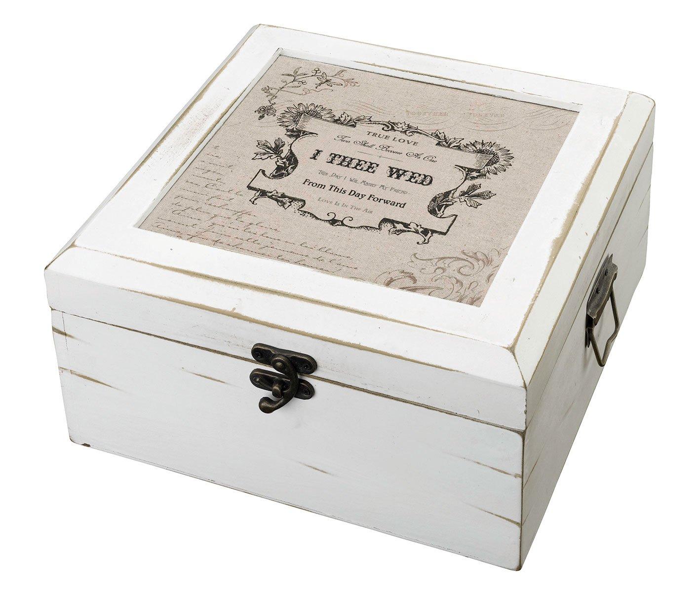 Lillian Rose Antique Rustic Wooden True Love Wedding Card Box