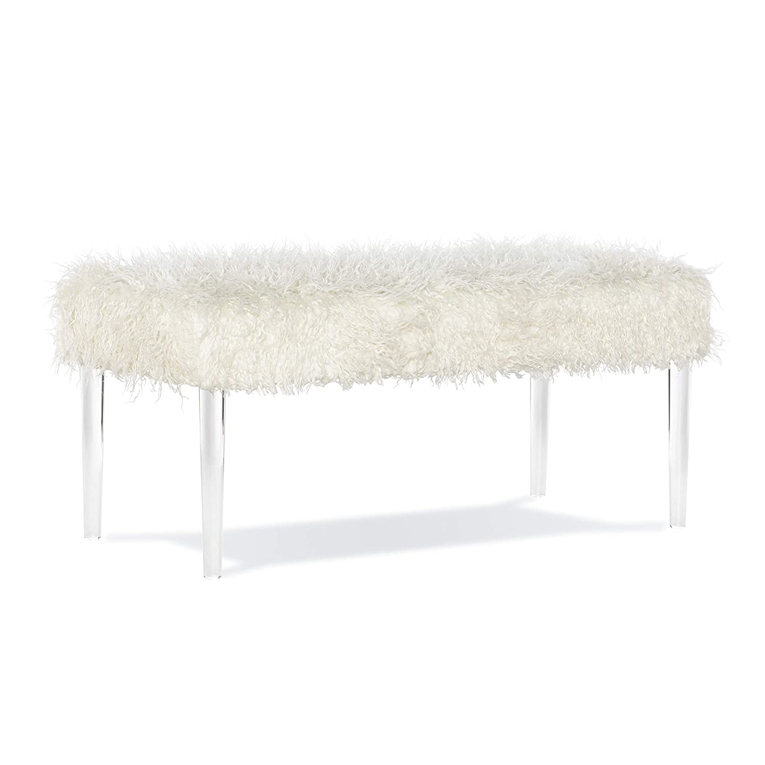 Incredible Linon Elsie Faux Fur Acrylic Bench Off Off White Andrewgaddart Wooden Chair Designs For Living Room Andrewgaddartcom