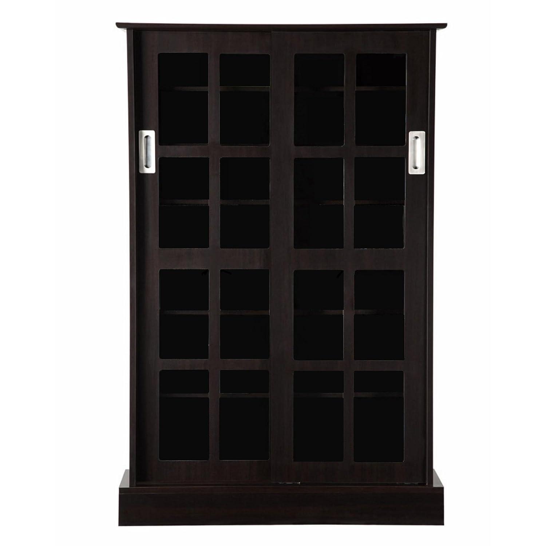 Sliding Door Dvd Cabinet Amazoncom Atlantic 94835721 Glass Door Cab Espresso Kitchen