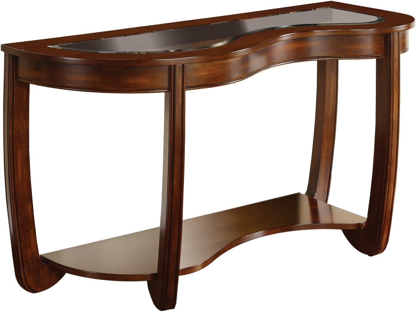 Furniture of America Byrnee Sofa Table with 5mm Beveled Glass Top, Dark Cherry Finish
