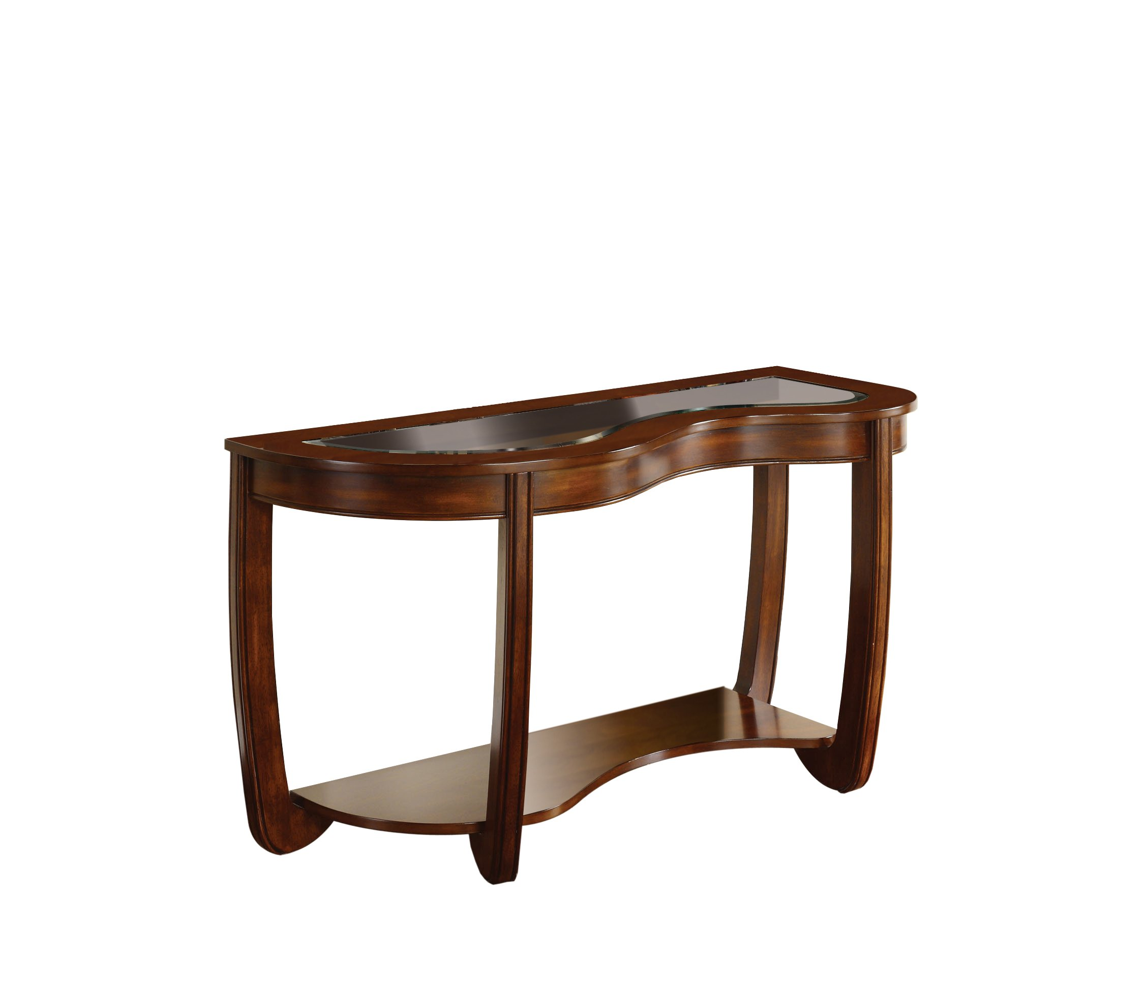 Furniture of America Byrnee Sofa Table with 5mm Beveled Glass Top, Dark Cherry Finish by Furniture of America