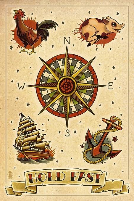 Amazon.com: Tattoo Flash Sheet - Sailors (9x12 Art Print, Wall Decor ...