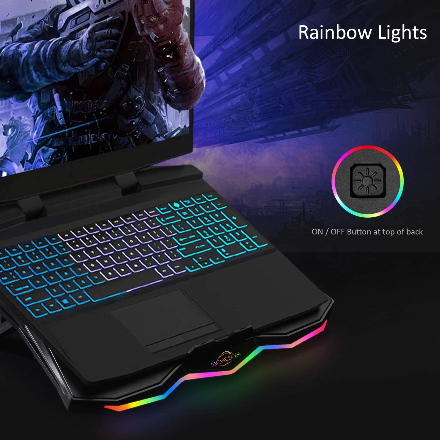AICHESON Laptop Cooling Cooler Pad with RGB Lights for 15.6-17.3 Inch Computer Notebooks Metal Panel 1 Big Fan