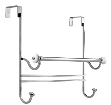 InterDesign York Over Shower Door Towel Bar Rack With Hooks For Bathroom    White/Chrome