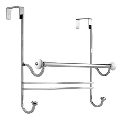 Beau InterDesign York Over Shower Door Towel Bar Rack With Hooks For Bathroom    White/Chrome
