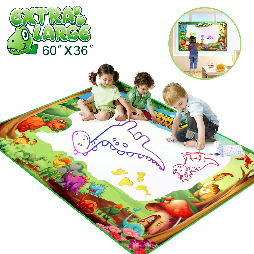 Betheaces Water Doodle Drawing Mat,Dinosaur Play Mats for Kids Extra Large 60'' X 36'' Aqua Painting Gift Mess Free Writing 7 Rainbow Colors with Magic Pens for Boy Girl Toddler Baby by Betheaces