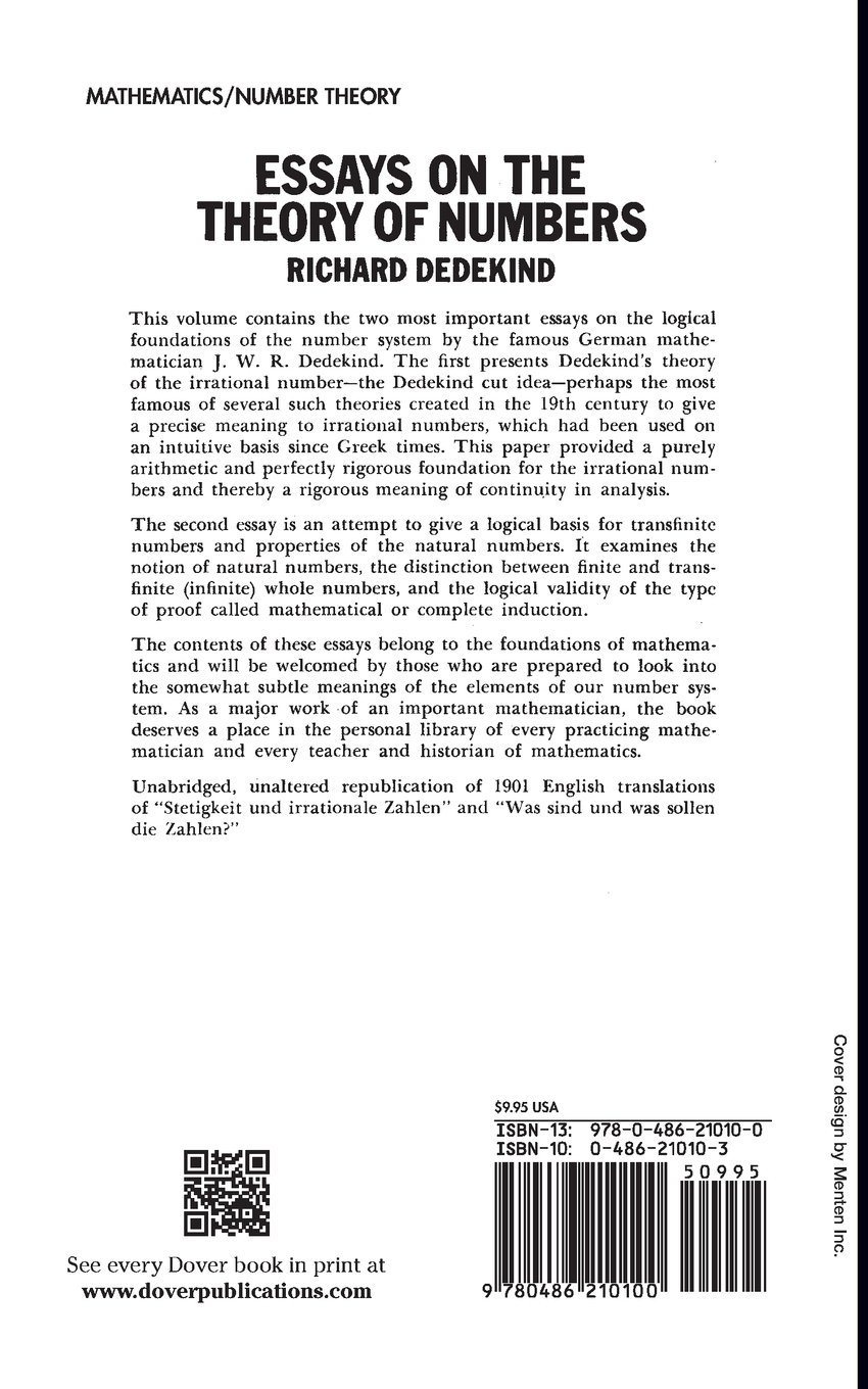 Science Essay Ideas Essays On The Theory Of Numbers Dover Books On Mathematics Richard  Dedekind  Amazoncom Books Public Health Essays also Essay Com In English Essays On The Theory Of Numbers Dover Books On Mathematics  Mental Health Essay