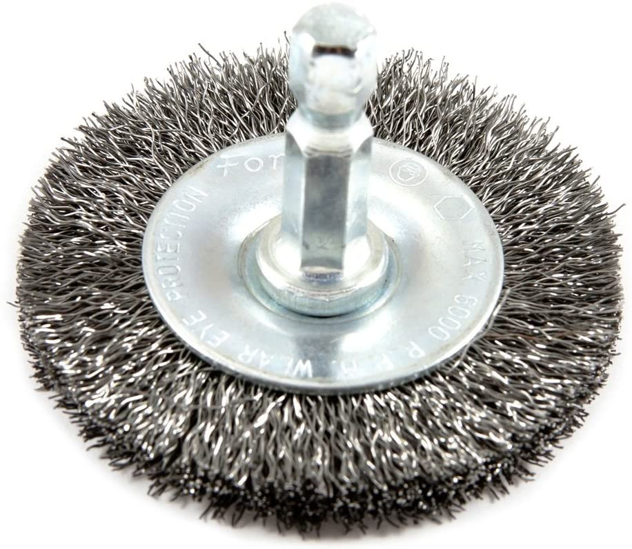 Forney 72740 Wire Wheel Brush 4-Inch-by-.008-Inch Fine Crimped with 1//4-Inch Hex Shank