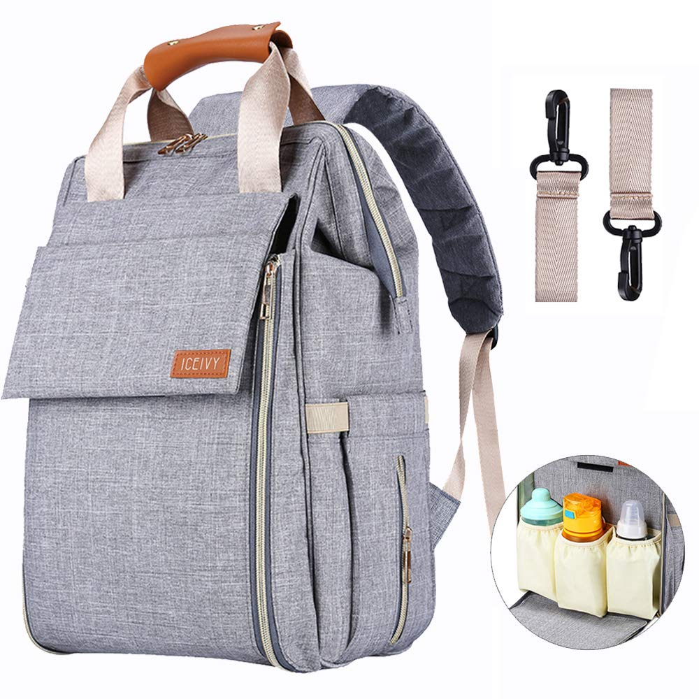 Diaper Bag,Baby Bag,Diaper Bag Backpack,Baby Diaper Bag for Girls and Boys,Multi-Function,Waterproof,Large Capacity, Stylish and Durable (Grey) by ICEIVY