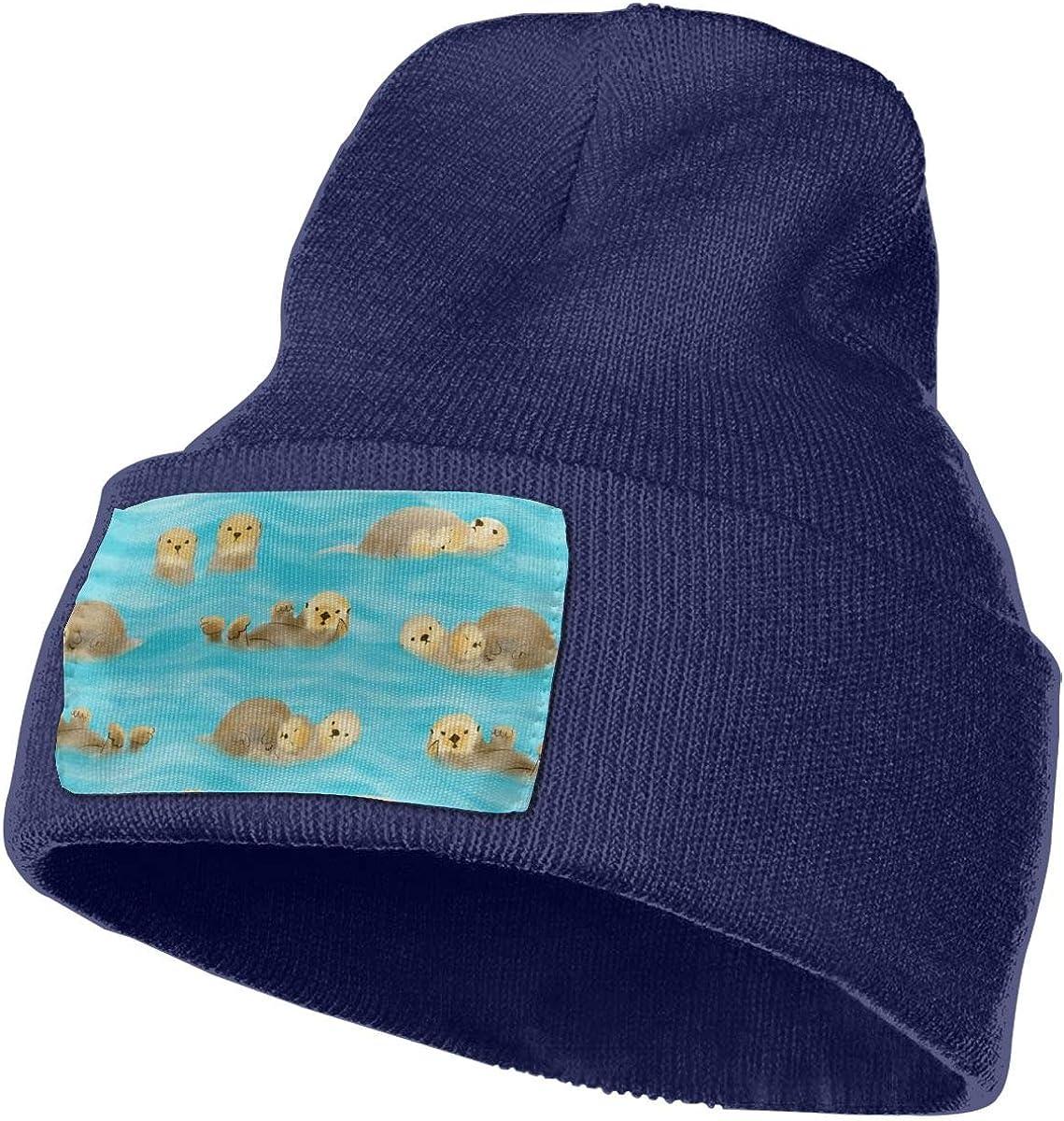 Unisex 100/% Acrylic Knitting Hat Cap Otters Sleeping On The Water Cute Skull Beanie