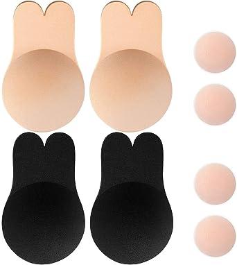 Imagen deMemoryee Push Up Adhesivo de Silicona Invisible Sujetador de Conejo Sujetador de elevación Reutilizable Copas Pezón Cubierta