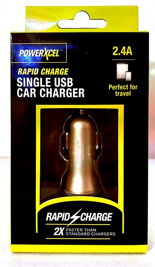POWERXCEL Rapid Charge Single USB Car Charger Copper