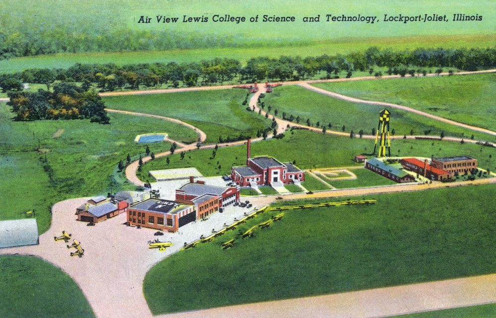 Lockport-Joliet, Illinois - Aerial View of the Lewis College of Science and Technology (12x18 Art Print, Wall Decor Travel Poster) by Lantern Press (Image #1)