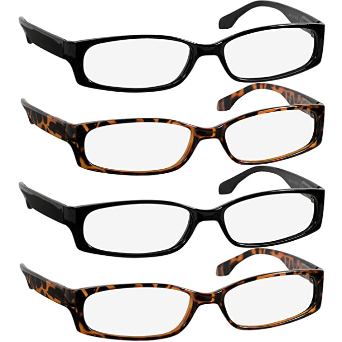 Reading Glasses 1.25 2 Black 2 Tortoise F503 (4 Pack)