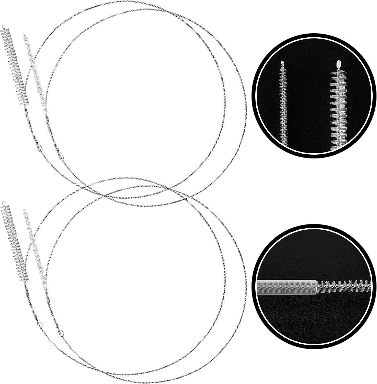 4 Paquetes Cepillos Limpieza de Tubos Alimentación, Cepillos Limpieza (32 Pulgadas Largo) con Cabeza Cerdas Nylon Suave, para Limpiar Líneas Estantería (1/6 Pulgadas and 3/8 Pulgadas de Diámetro)