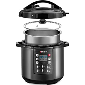 Pressure Cooker Instant Crock 10-in-1 Pot Pro Series 19 Program 6Q with German ThermaV Tech, Cook 2 Dishes at Once, BONUS TEMPERED GLASS LID, Saute, Steamer, Rice, Yogurt, Sterilizer
